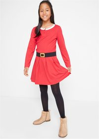 Geometrisk snøfnugg svart rød langermet julekjole
